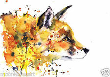 A3 FOX PAINTING PRINT FROM ORIGINAL WATERCOLOUR BY MOONHARES ART
