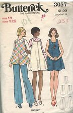 3057 Vintage Butterick Sewing Pattern Maternity Dress Tunic Pants Casual 1970s
