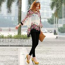 Boho Women Casual Floral Print Batwing Long Sleeve Tops Blouse Shirt Smock Top