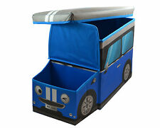 Large Kids Clothes Storage Seat Bedroom Stool Toy Books Box Chest Boys Car Blue