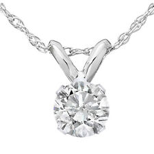 ".35 Ct Solitaire Natural Diamond Pendant & 18"" Chain 14K White Gold"