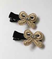2 Packs Of Gold Bow Lacey hair Clips/aligator Clip/schools Uniform