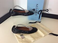 Lanvin Ballerina Flats Uk 4 Eu37, Black Patent Leather Shoes, NEW, RRP £325 BNIB