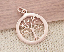925 Sterling Silver Rose Gold Vermeil Style Tree of Life Pendant.