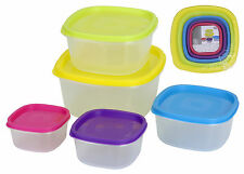 Set of 5 Clear Plastic Containers Square Food Storage Boxes with Coloured Lids