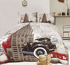 Retro CHRYSLER Vintage New York Quilt Doona Cover Set SINGLE DOUBLE QUEEN, KING