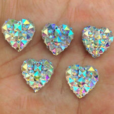 Lots 50Pcs Resin Heart Shape Silvery Rhinestones Beads Jewellery Making DIY 12mm