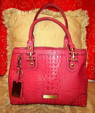 ETIENNE AIGNER FUCHSIA/PINK CROC PRINT LEATHER SHOULDER BAG WITH LOGO KEY CHAIN