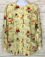 UA Medical Veterinary Scrub Top Jacket Oh Deer Fall Squirrels Pumpkins Size M