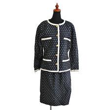 Auth CHANEL CC Button Setup Jacket Skirt Suits #38 Linen Cotton Vintage BT11184