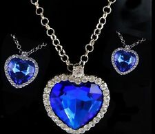 Eternal Heart of the Ocean Crystal Pendant Necklace Ladies Girls Fashion Jewelry