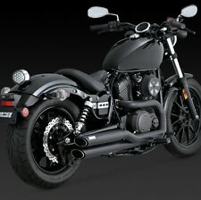 YAMAHA XV 950 & R-SPEC/ BOLT Twin Slash Black Full Exhaust VANCE AND HINES 48531