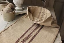 Vintage GRAINSACK grain sack feed bag BROWN stripe hemp linen old bag