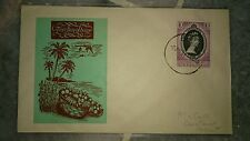 Terengganu Malaya Stamp QE Queen Elizabeth II Coronation 2 June 1953 Coconut FDC
