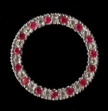 New 10K 17mm Solid White Gold Natural Diamond & Pink Red Ruby Circle Pendant Pd