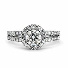14K White Gold Diamond Engagement Ring - 2.5 Carat Round D I1 Clarity Enhanced
