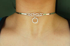 Mini Solid 925 Sterling Silver Neck Cuff Celtic Locking BDSM Slave  Day Collar