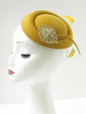 Mustard Gold Feather Pillbox Fascinator Hat Races Vintage Yellow Rhinestone 9Ai