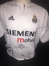 Signed Roberto Carlos Zidane Ronaldo Real Madrid Home Shirt