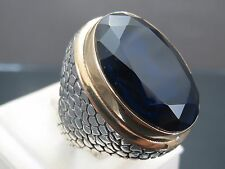 Turkish Handmade Ottoman 925 Sterling Silver Sapphire Stone Men's Ring Sz 11