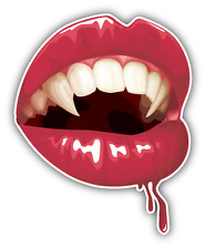 "Vampire Lips Mouth Car Bumper Sticker Decal 5"" x 4"""