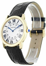 Cartier W6700455 Ronde Solo 18KY Gold Silver Dial Men's Leather Watch New In Box
