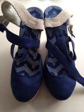 M&S Wedges Sandals Shoes Size 3 Canvas Navy Blue New