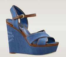 LOUIS VUITTON SUNLIGHT WEDGE SANDALS SHOES EU 38, UK 5, RETAIL £580, DENIM