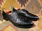 VTG BLACK ALIGATOR FLORSHEIM IMPERIAL NORWEGIAN TOE SIZE 10.5 B MADE IN USA