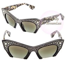 MIU MIU LUXURIOUS RASOIR Cat Eye Sunglasses SMU 02Q 1AB-4M1 Black CrystalS Pave