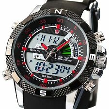 SHARK DIGITAL ANALOG MENS MILITARY SPORT WATERPROOF WATCH + BOX