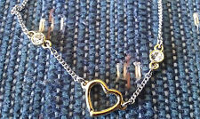 Lia Sophia Sweet Nothings Anklet Bracelet Ankle Two Tone Heart   to 11 1/2""