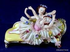 Oldest Volkstedt Dresden Lace Two Little Girls Dancers on Recamier Figurine