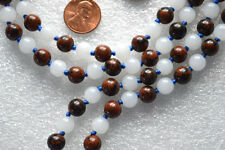 Moonstone Obsidian Hand Knotted Mala Beads Necklace - Blessed Karma Nirvana Medi