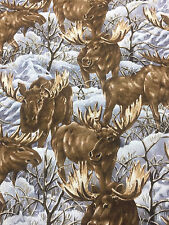 Timeless Treasures Moose In The Snow Cotton Fabric Quilt Sew OOP BTY