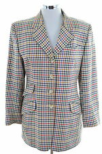 Daks London Womens Blazer Jacket Size 12 Medium Multi Check Cotton