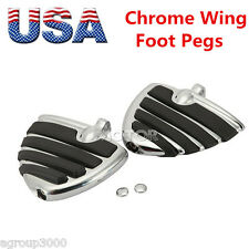 Chrome ISO Wing Highway Footrest Pegs for Harley Street Road Glide Ultra FLTRU