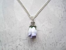 *WHITE LILAC ROSEBUD* Drop Necklace Vintage Style CUTE GIFT NEW Rose bud Tibetan