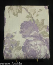 Shabby Chic Purple Lilac Ivory Beige Shower Curtain W/ Cabbage Roses Floral NWT