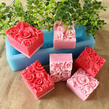 Soap Mold Oblong Rose Floral Rectangle Silicone Mold For Soap Resin Clay