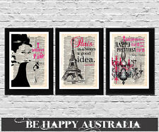 Typography Art Prints IN FRAMES set of 3 on paper size A4  AUDREY HEPBURN PARIS