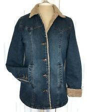 OLD NAVY Jean Jacket Medium Sherpa Lined Long Western Denim 03' Sanded