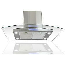 "30"" Glass Stainless Steel Island Mount LED Control Range Hood Stove Kitchen Vent"