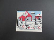Vintage Unused Xmas Greeting Card Winter Farm Rooster & Chickens Feeding