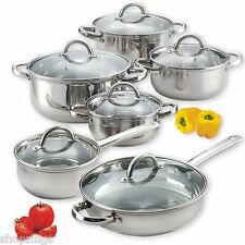 12 Piece Stainless Steel Pans Pots Set Glass Clear Lids Induction Cooking Stove