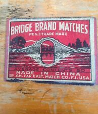 old match box top - small top - bridge brand matches made in china