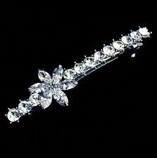 USA BARRETTE using Swarovski Crystal Hairpin Bridal Wedding Silver Flower CZ 2