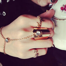 Korean Lady Elegant Crystal Hand Harness Bracelet Slave Chain Link Finger Ring