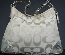 Authentic Coach Handbag Peyton Signature Sateen Shoulder Hobo Bag 19758 Purse