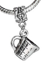 Measuring Cup Baking Chef Cooking Dangle Bead for Silver European Charm Bracelet